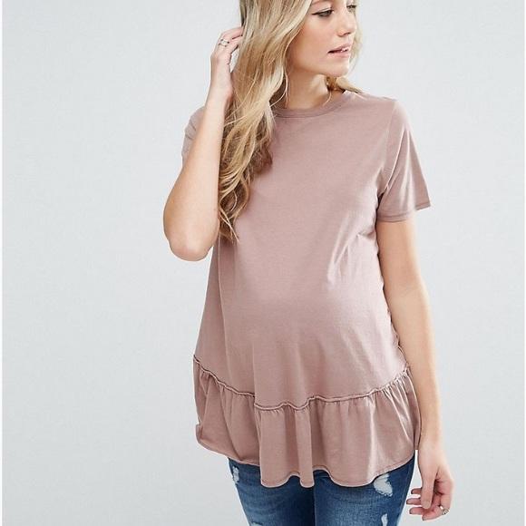 abc2e6d07e6eb ASOS Maternity Tops   Ruffle Hem Maternity Shirt   Poshmark